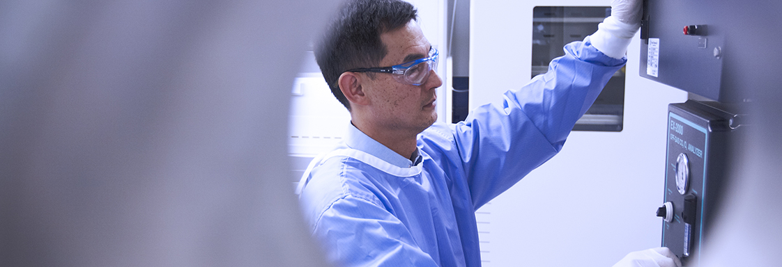 Scientist working in our Recombinant Protein Production Facility.