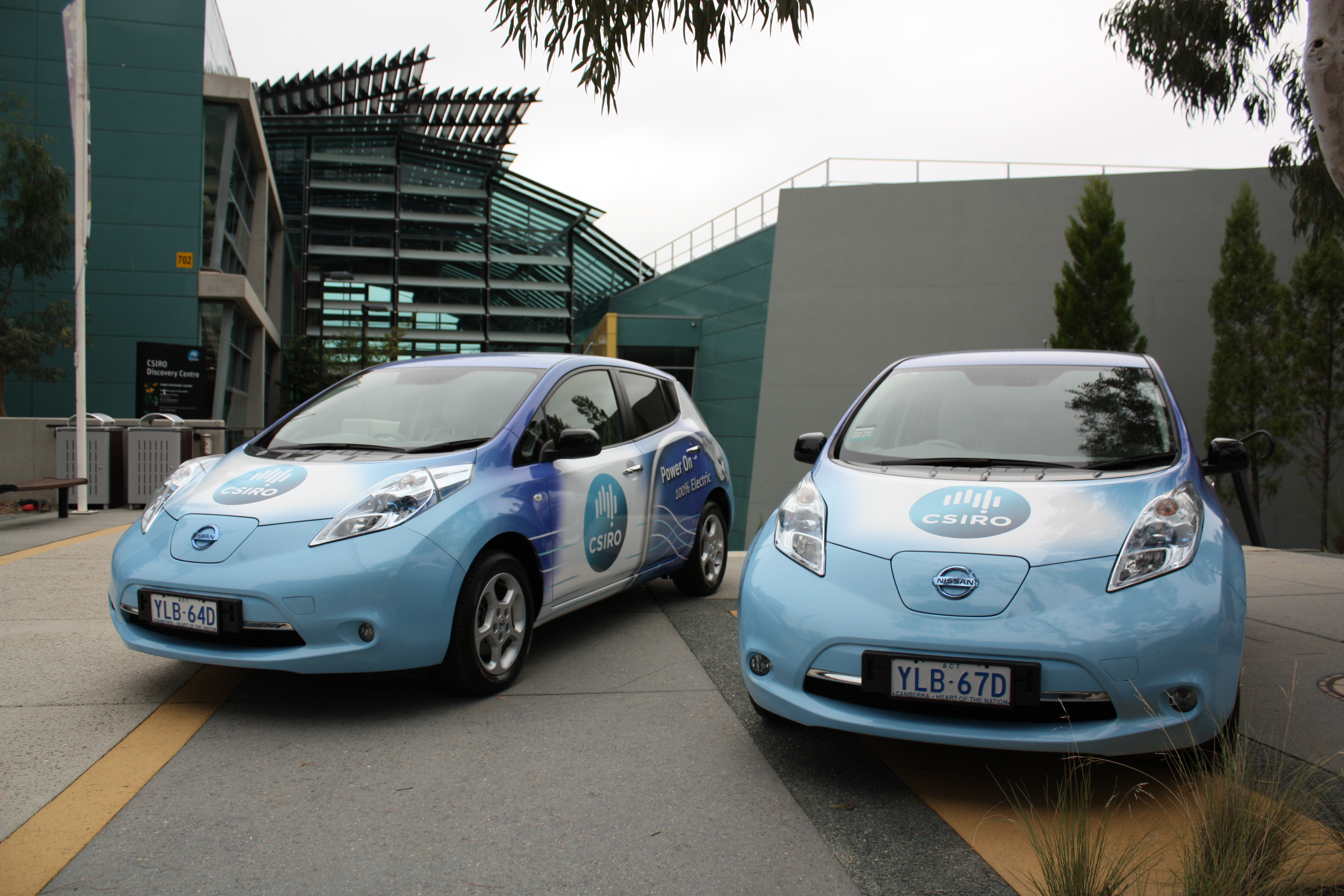 Bonnet view of CSIRO electric cars.