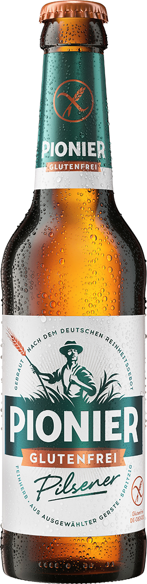 Beer bottle, label displays the words 'Pionier' and 'Glutenfrei'