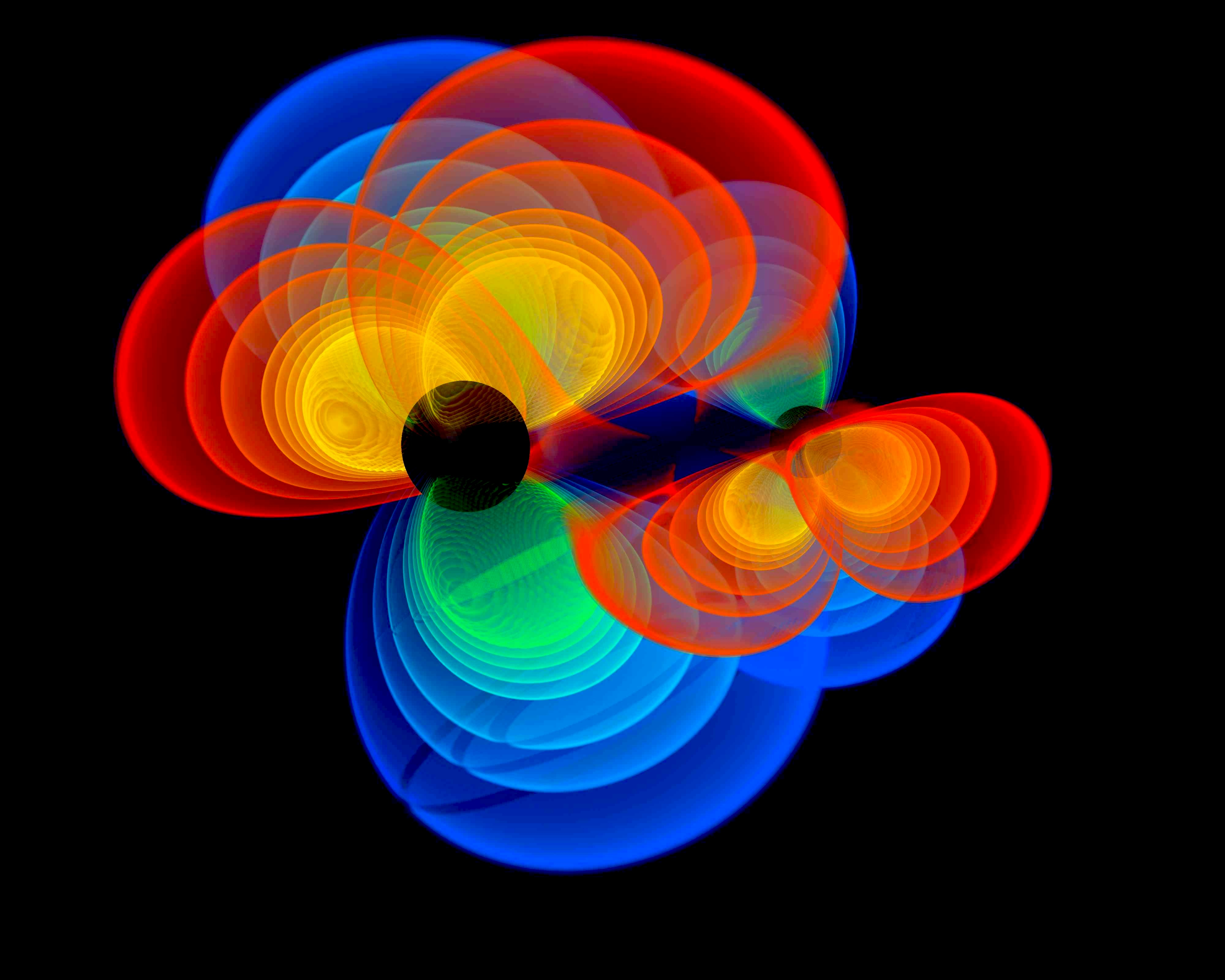 A simulation of black holes merging.