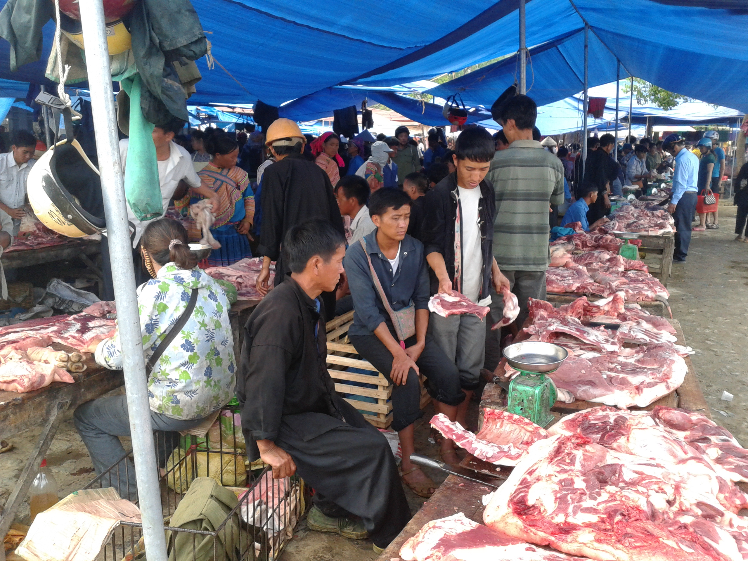 Hmong butchers sitting at market stalls with meat from the indigenous Hmong black pig laid out on tables for sale.