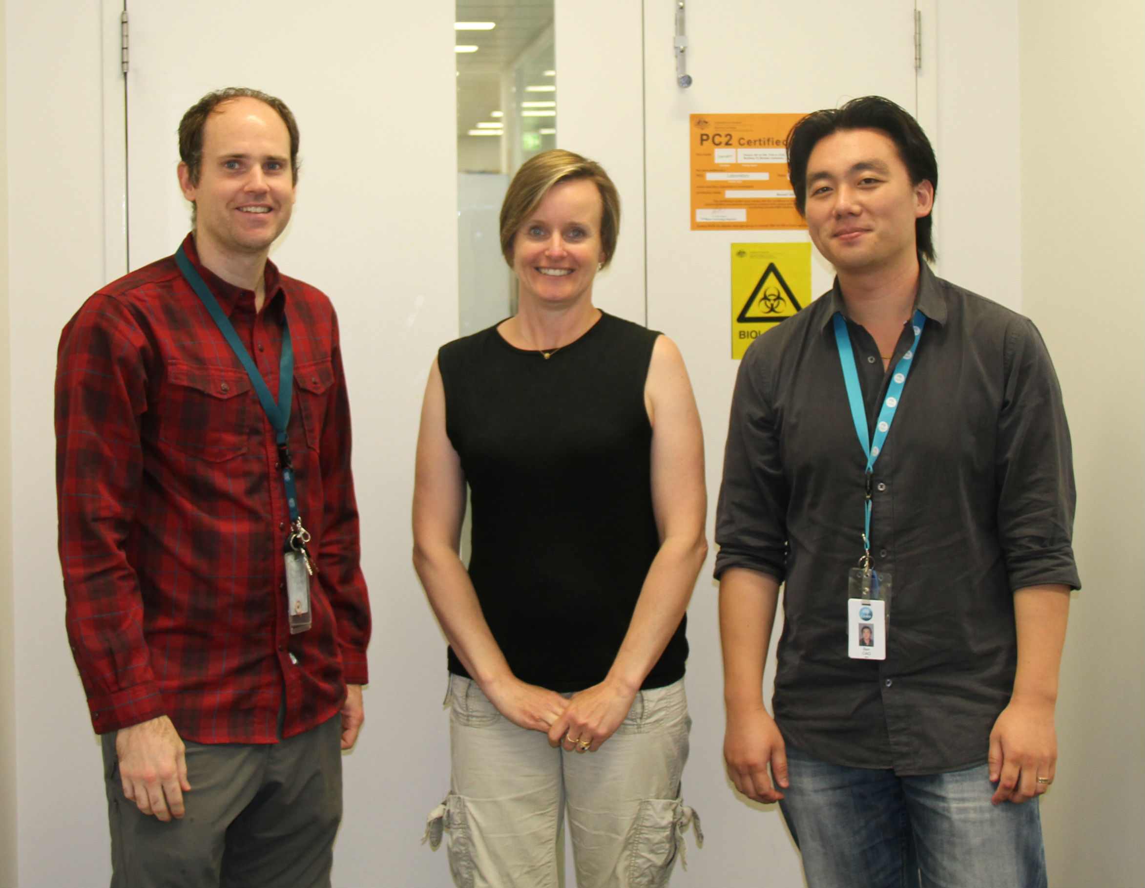 The ARMI research team behind the small molecule discovery. From left to right: CSIRO's Dr Chad Heazlewood, Dr Susie Nilsson and Dr Ben Cao.
