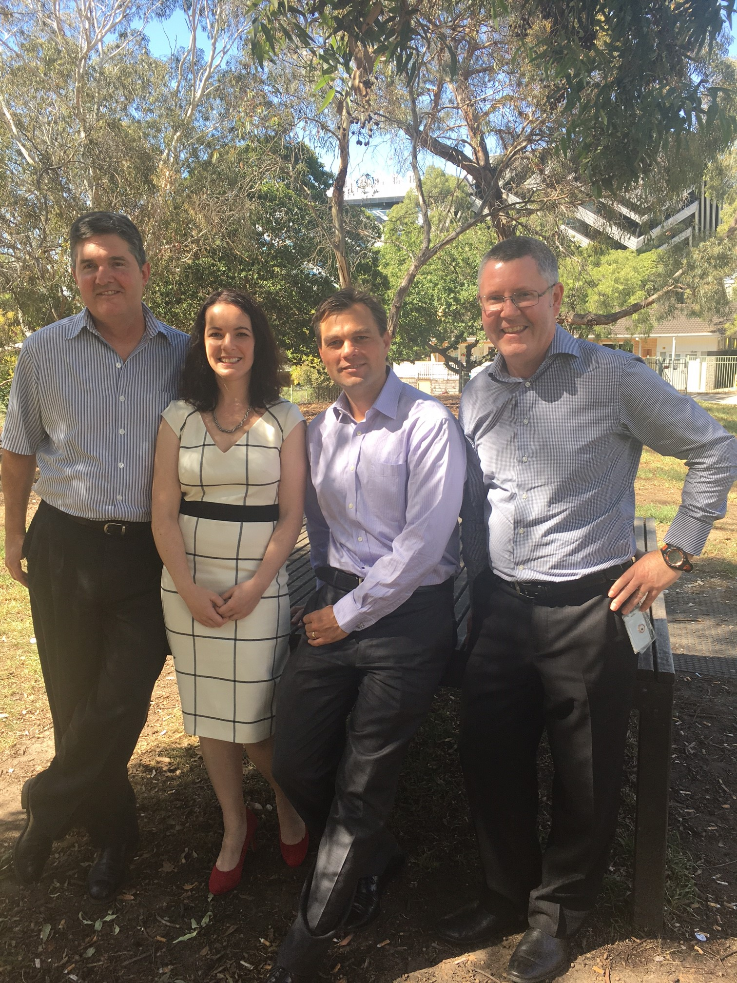 Left to right: CSIRO's biomedical research director Dr Paul Savage, MecRx founder Dr Joanne Alcindor, MecRx board director Dr Chris Smith and CSIRO chemistry group leader Dr Jack Ryan.