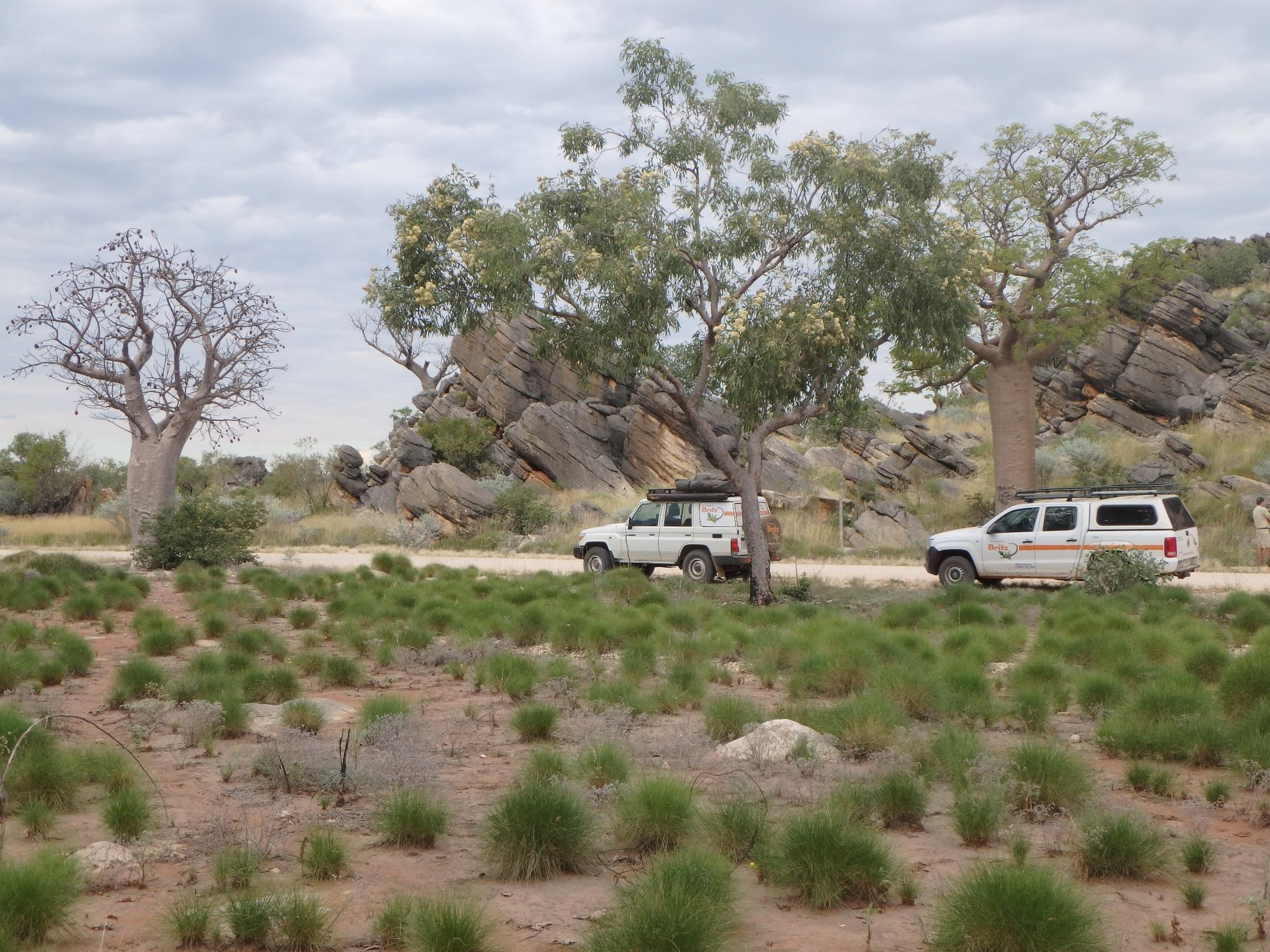 Two 4WD cars travelling along the Leopold Downs Road west of Fitzroy Crossing in Western Australia.