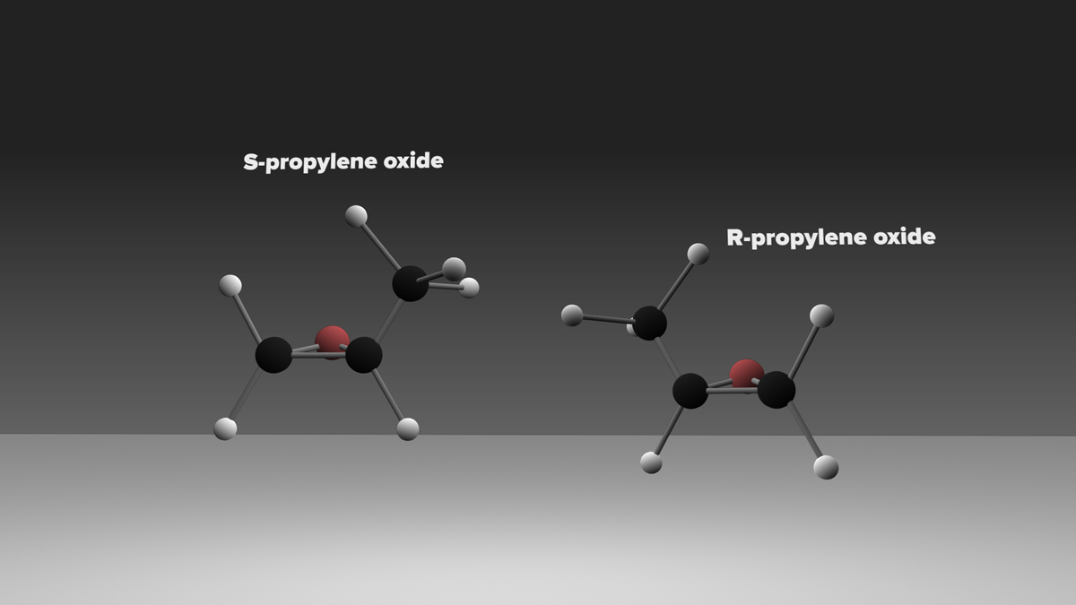 Model of the structure of versions of the chiral molecule propylene oxide.