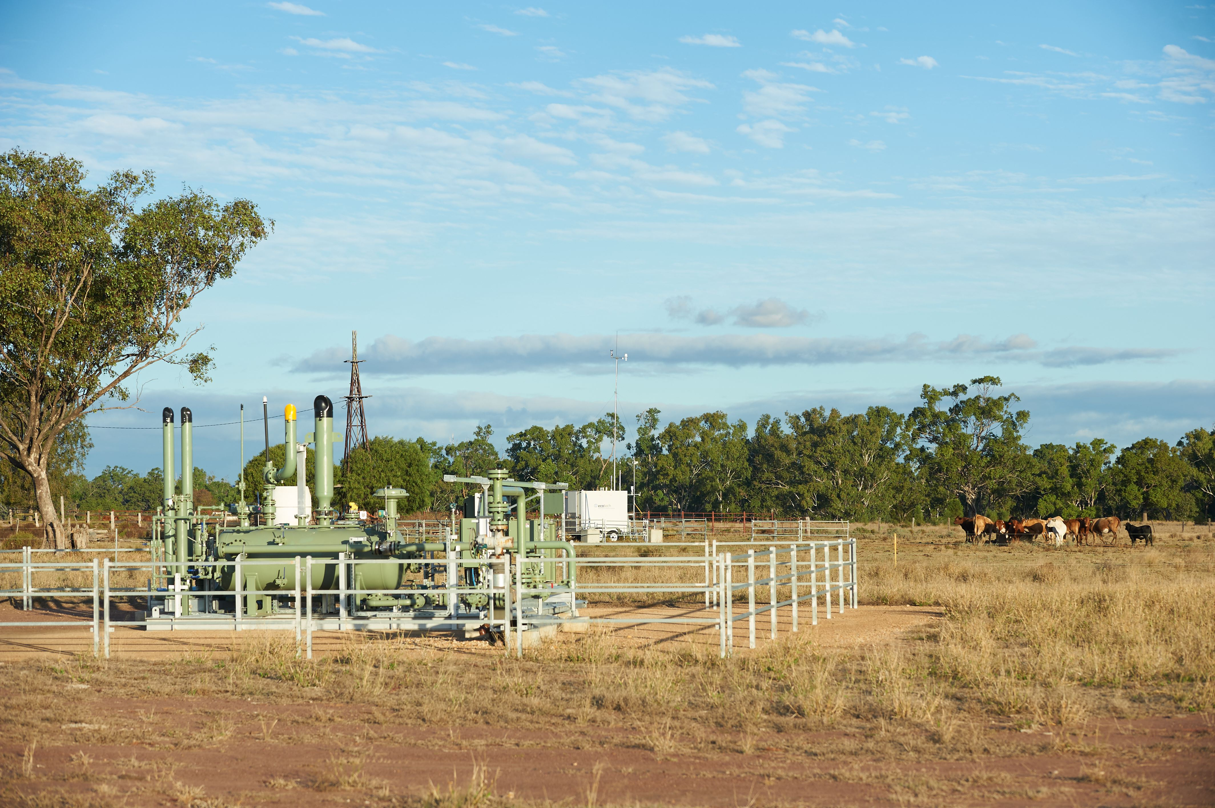coal seam gas wellhead in a field