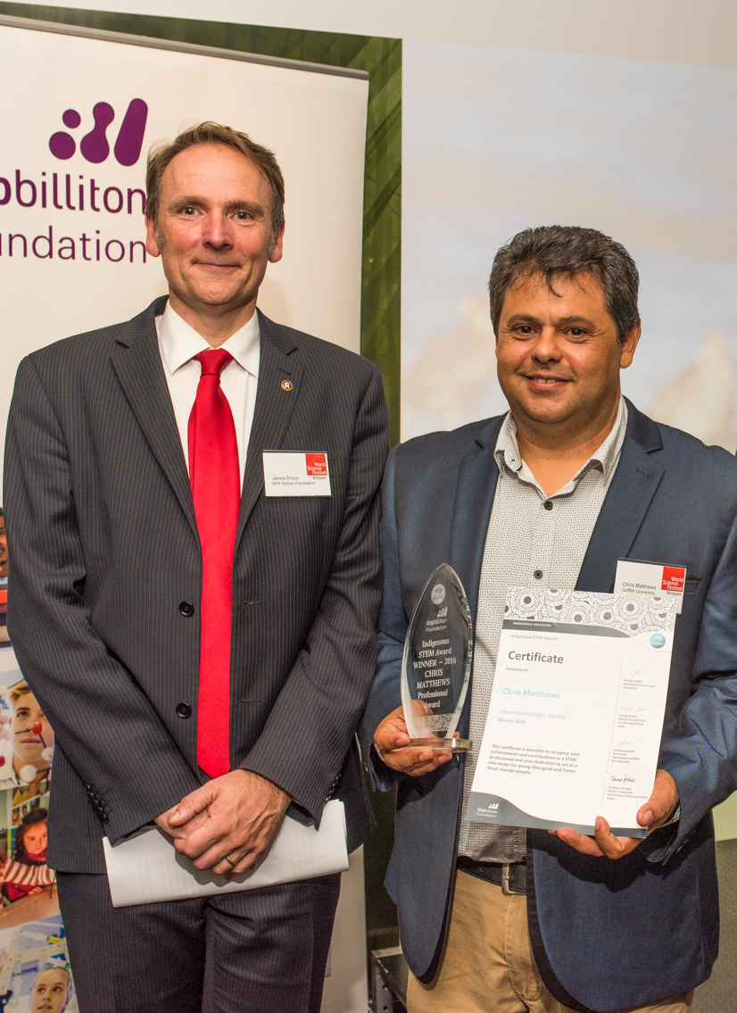 2016 Indigenous STEM Professional Award winner Dr Chris Matthews with James Ensor (Chief Executive Officer, BHP Billiton Foundation)