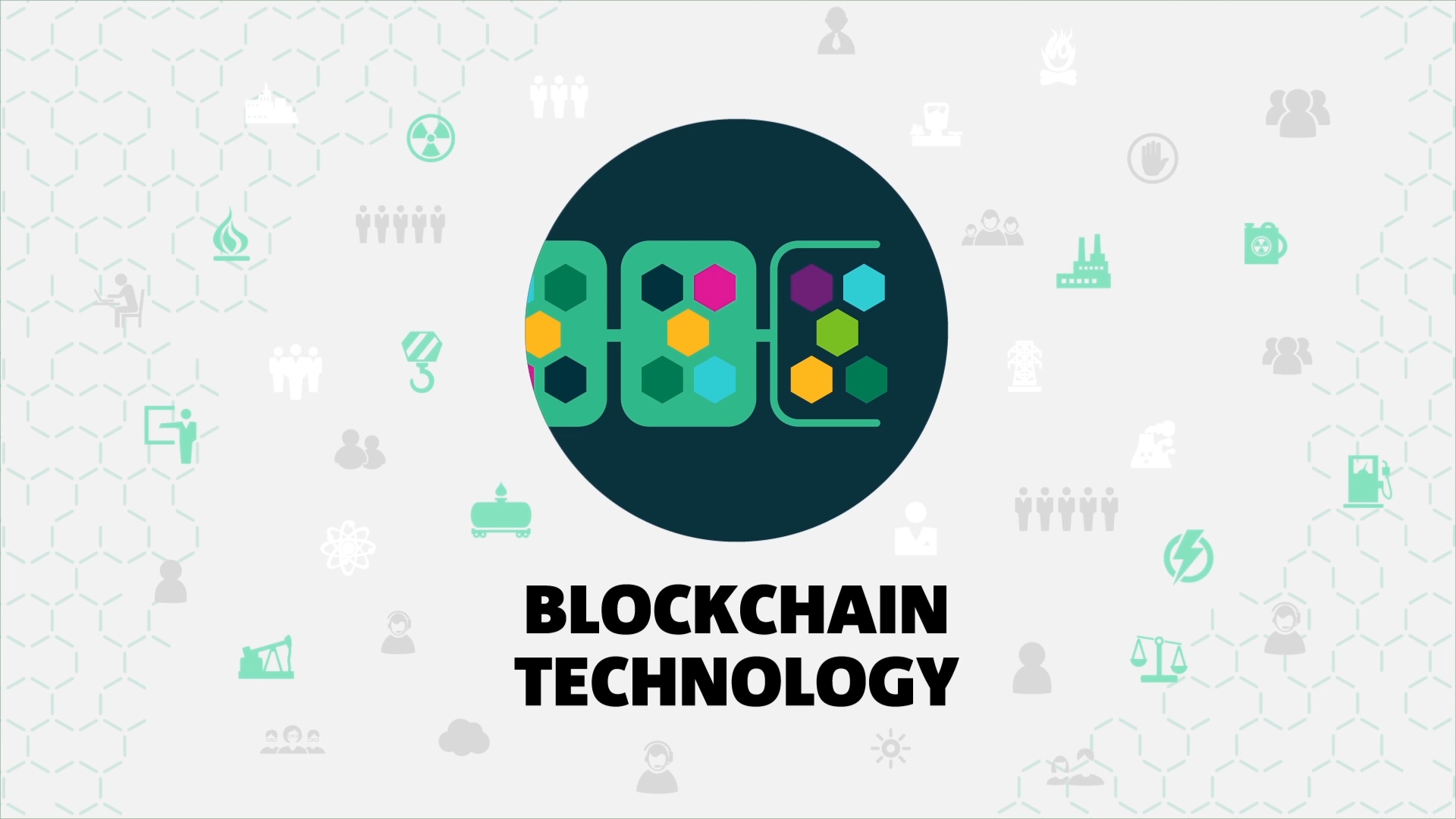 Decorative image showing the words Blockchain Technology overlaid on a variety of icons.