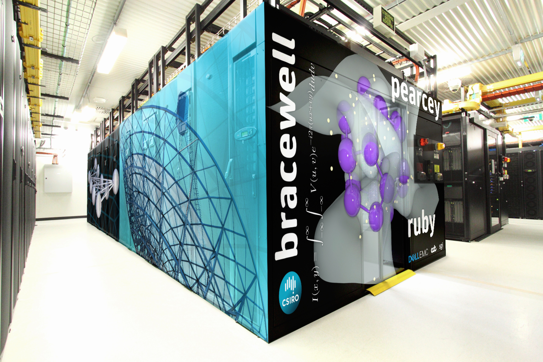 Super computer with artist's impression of banners on the outside frame including the words Bracewell, Pawsey and the CSIRO logo.