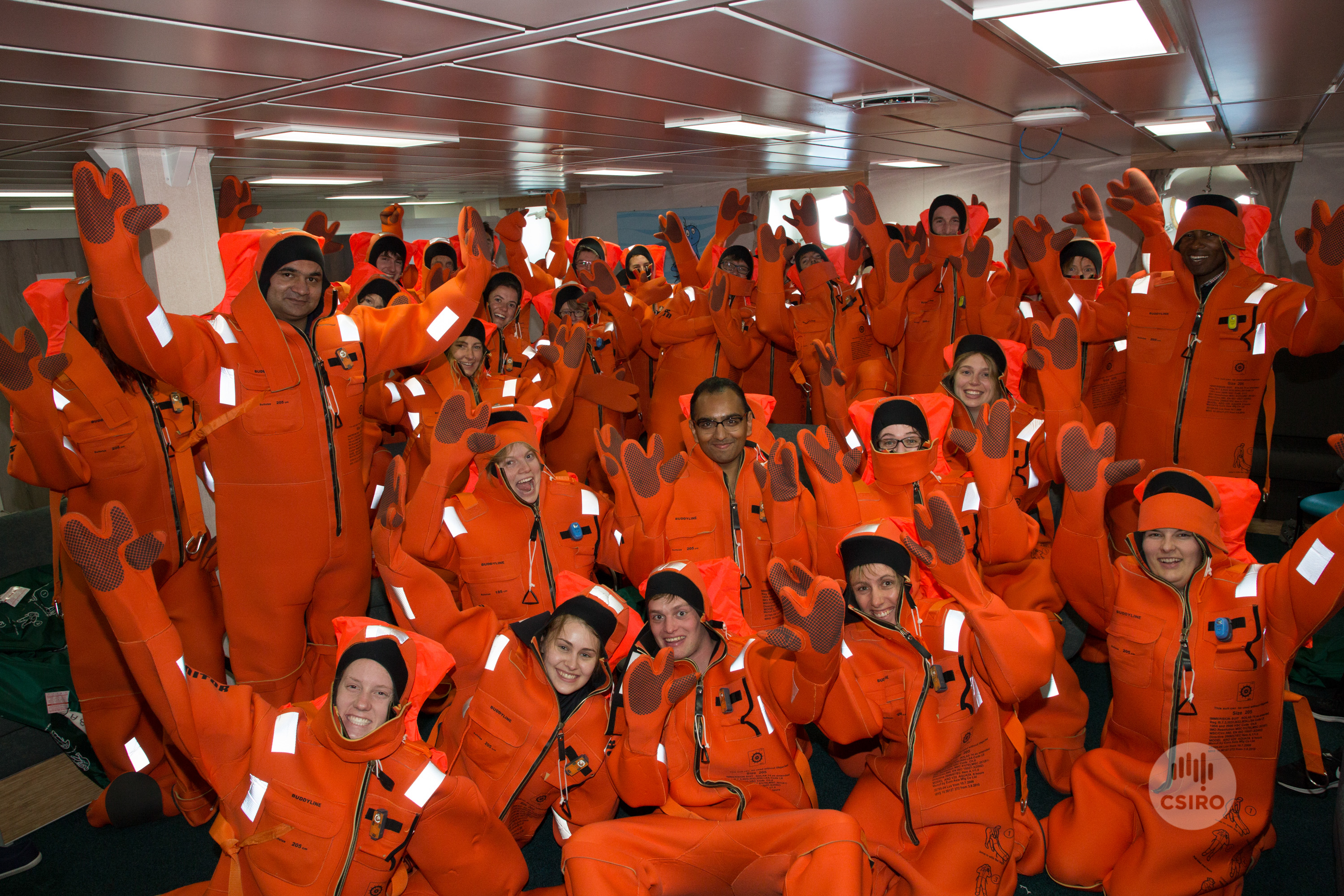 Students in immersion survival suits.