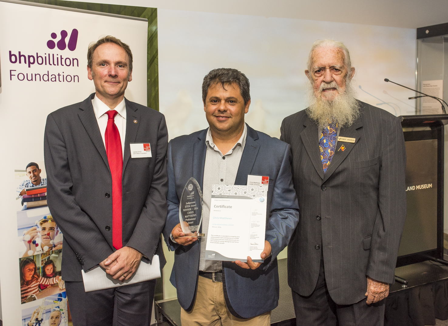 Mr James Ensor, Dr Chris Matthews and Dr Robert  Anderson OAM at the Indigenous STEM Professional Award ceremony.