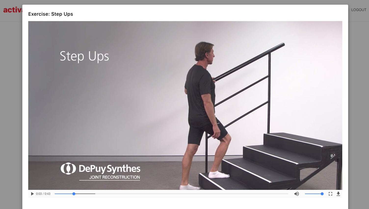 Knee replacement rehab app physio video