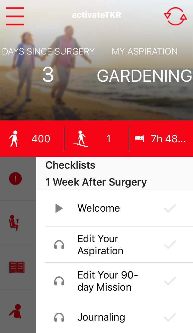 User interface for knee replacement rehab app