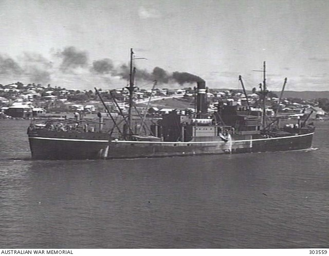Black and white photo of the SS Macumba before it sunk