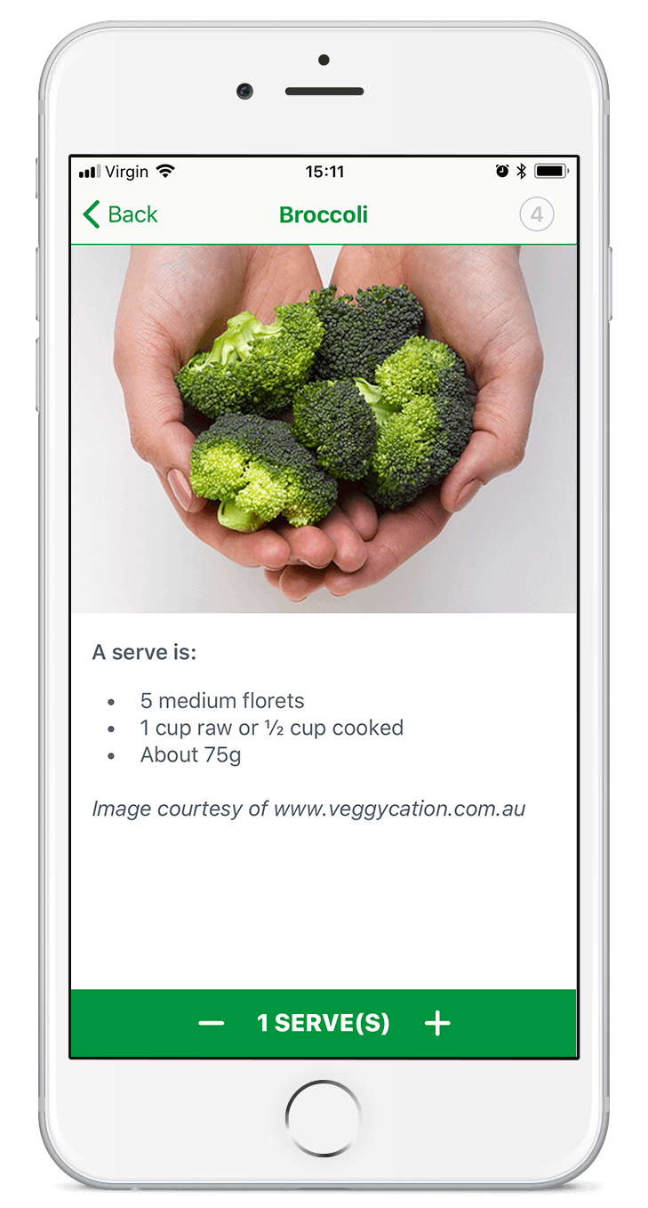 Screen shot of the VegEze app.