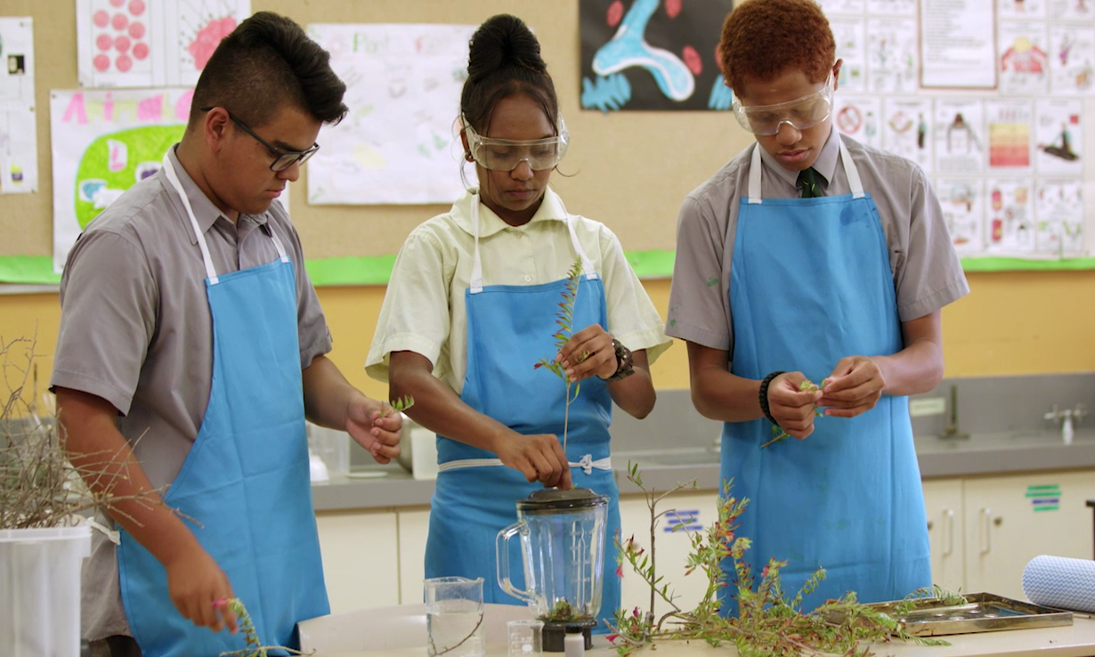 Three students working on an experiment.