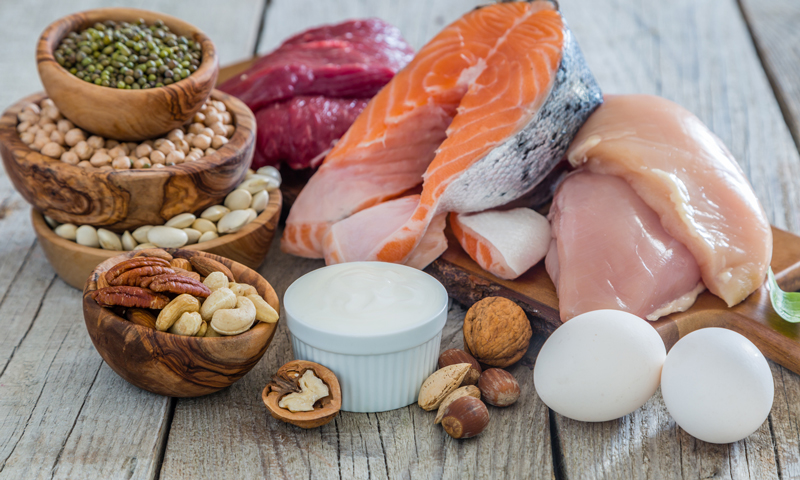 Selection of high protein food for weight loss. iStockphoto