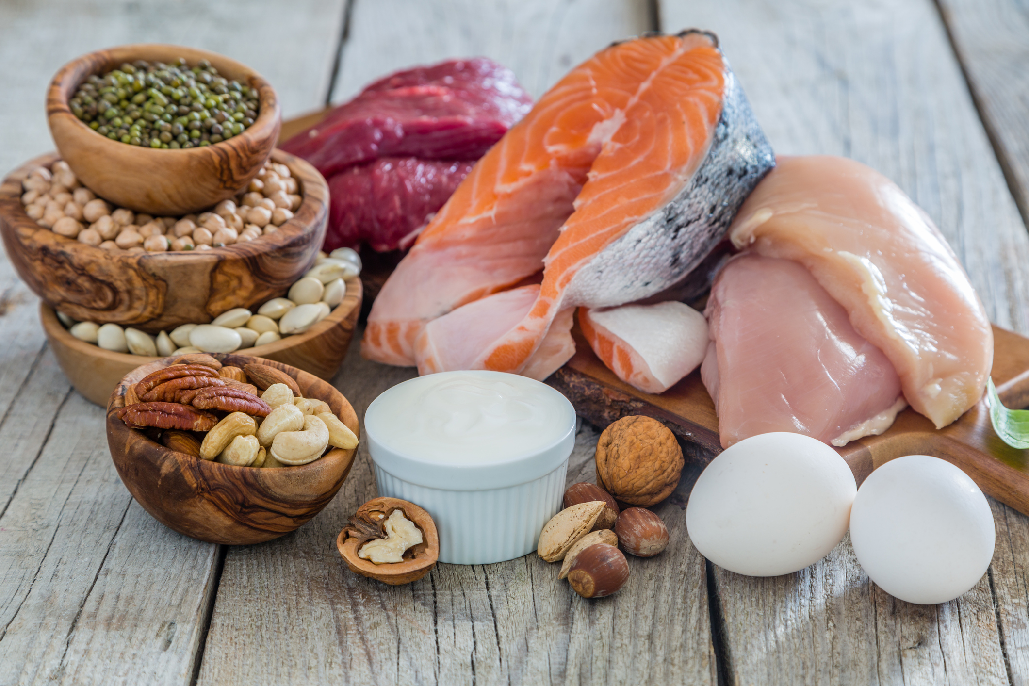 Selection of high protein food for weight loss.