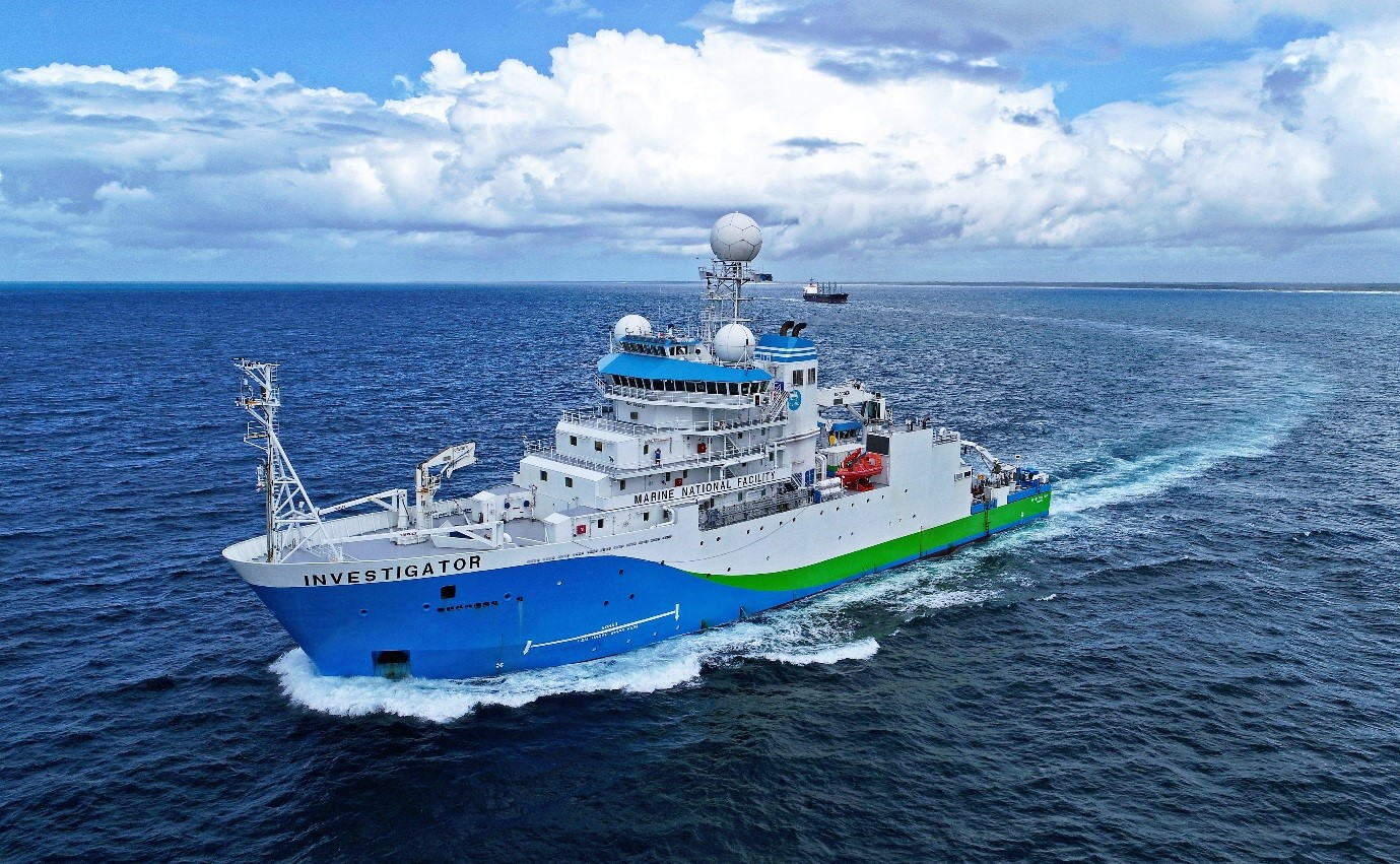 Investigator research vessel at sea.