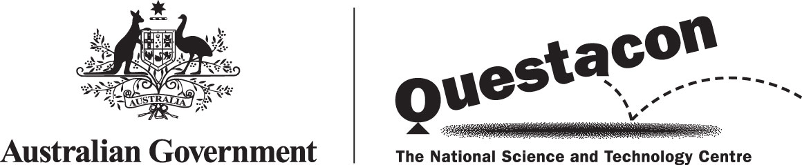 Australian Government logo and Questacon logo.