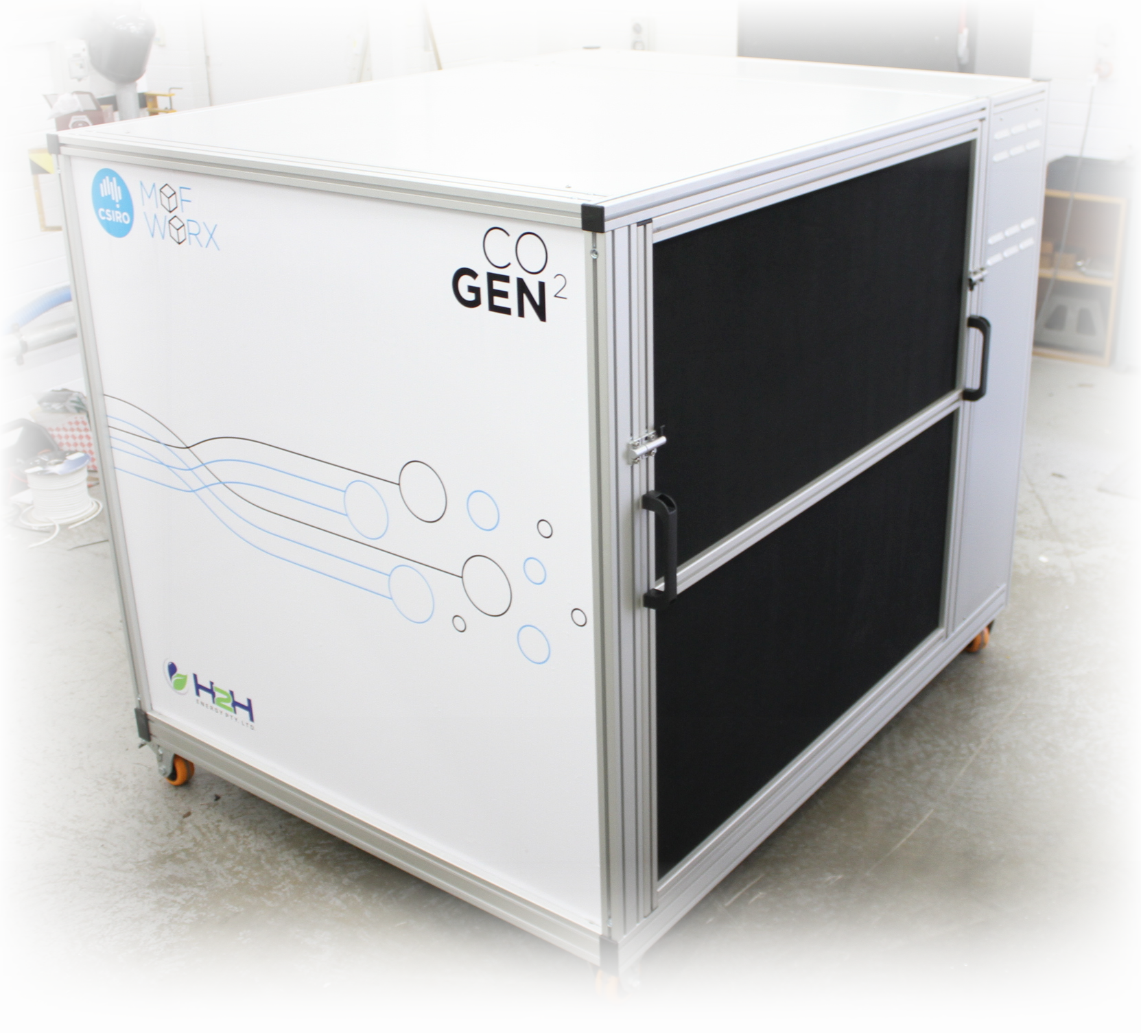A prototype CO2 capture and storage device, developed by CSIRO