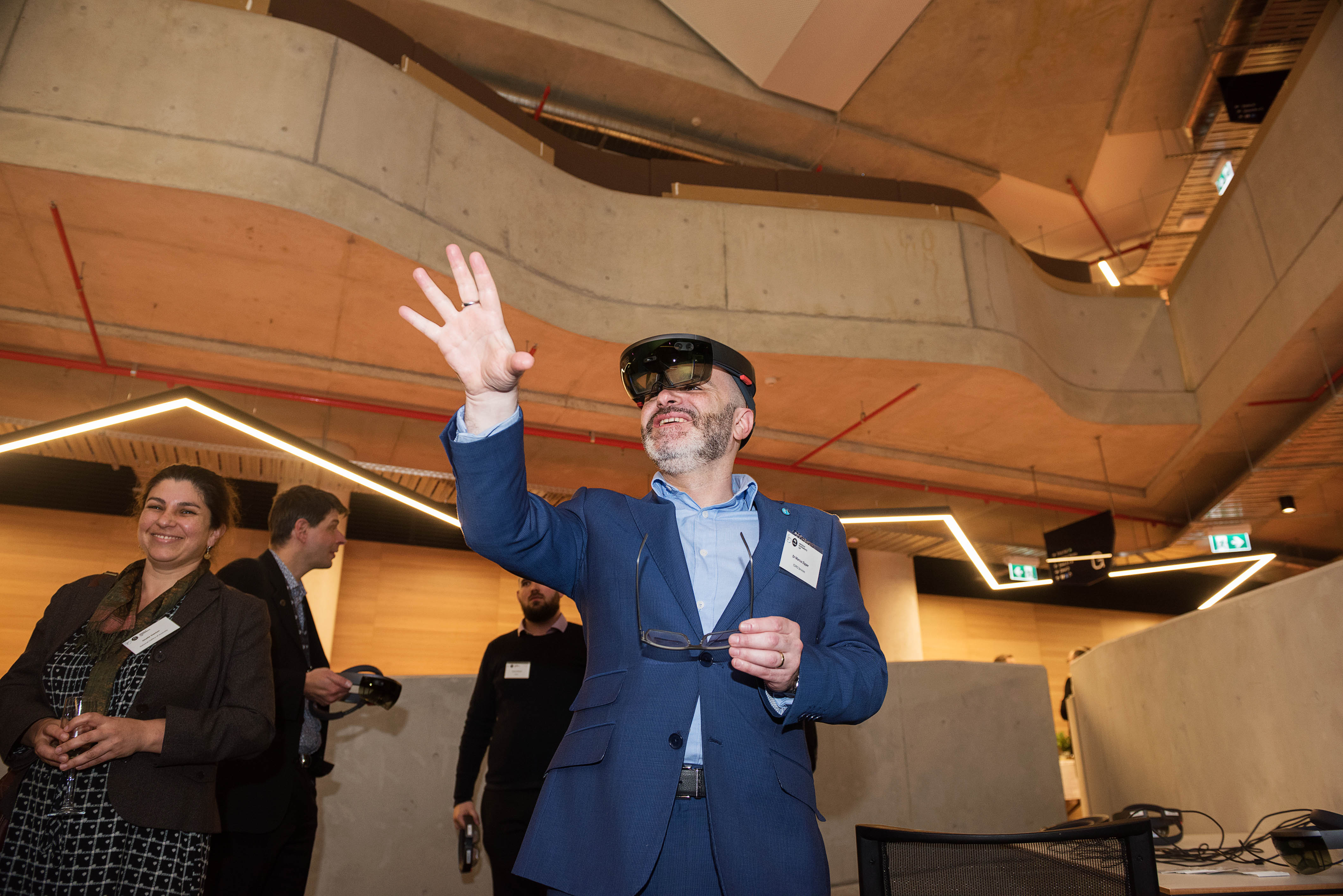 Person wearing hololens during a demonstration at CSIRO's Synergy building.