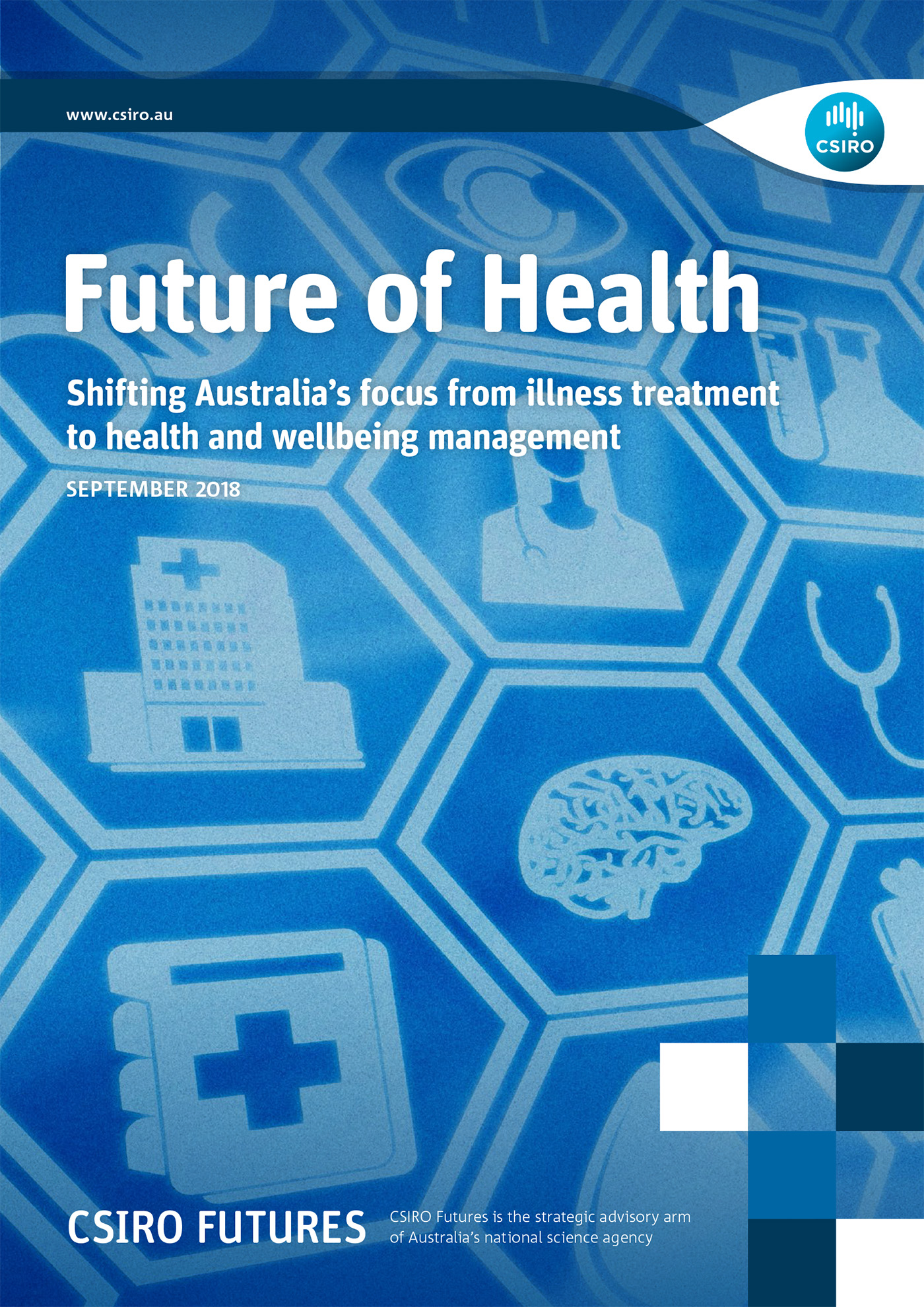 Front cover of the CSIRO Future of Health report.