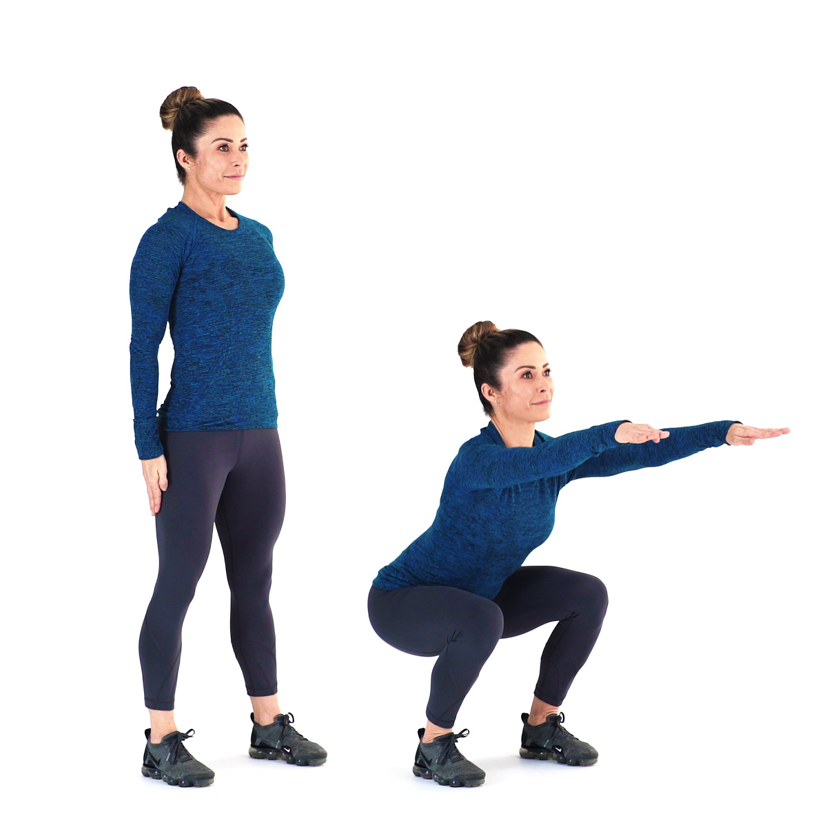 Two step photo of person performing a squatting exercise.