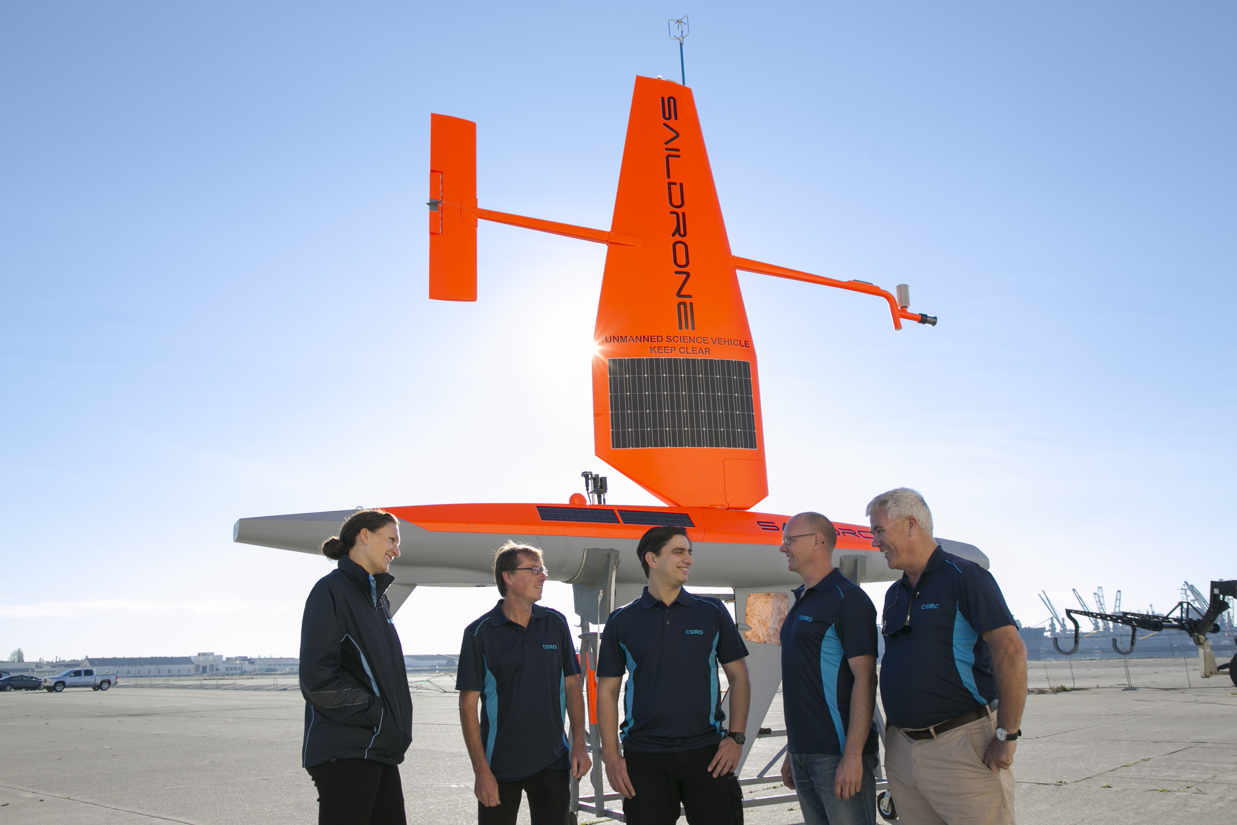Research team with a Saildrone.