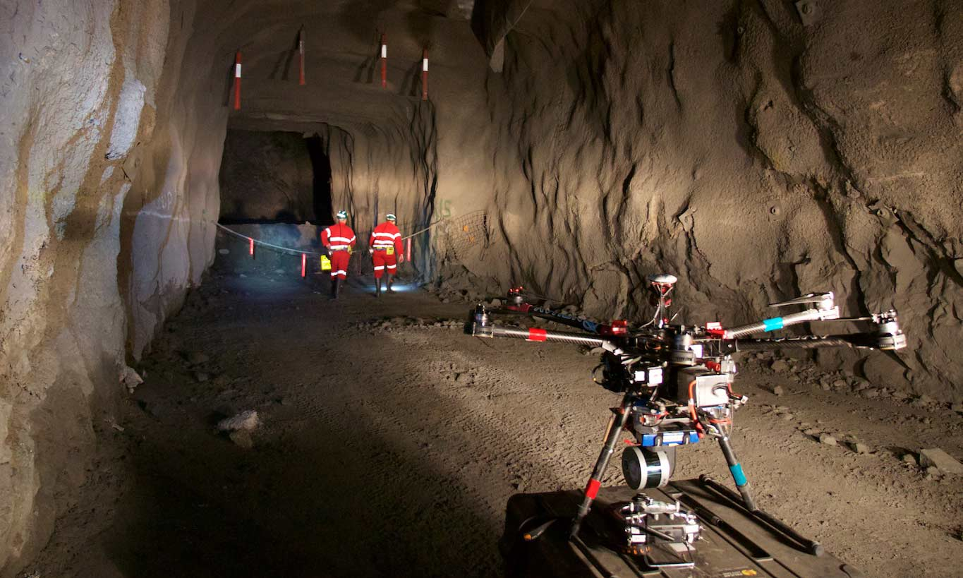 Hovermap lidar mapping and autonomy payload fitted to drone for underground mine mapping.