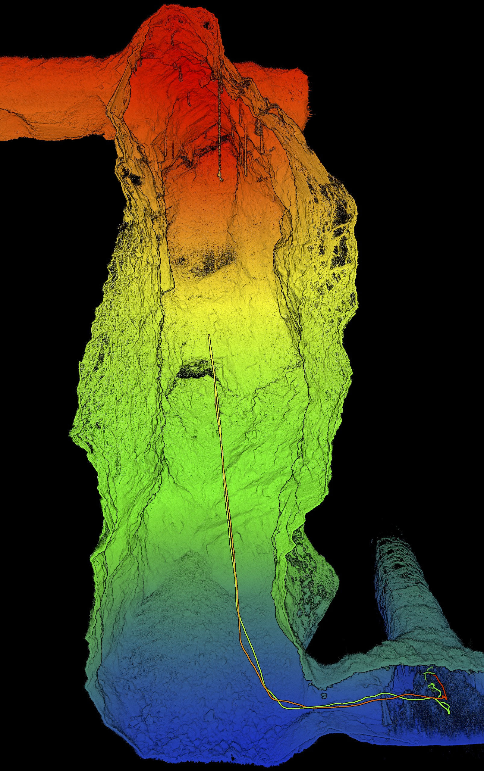 3D-point cloud map of a mine stope.