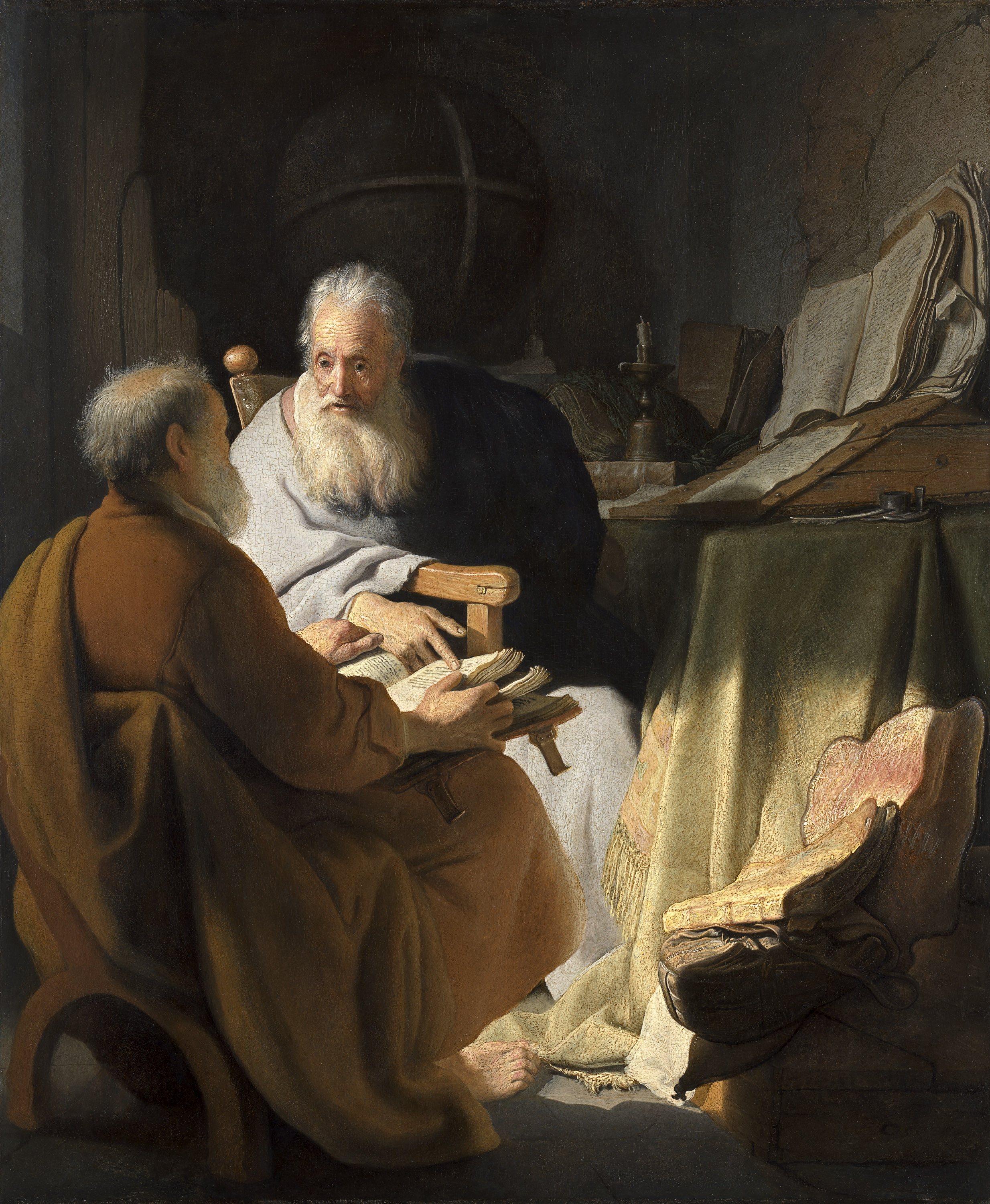 Painting of two men disputing