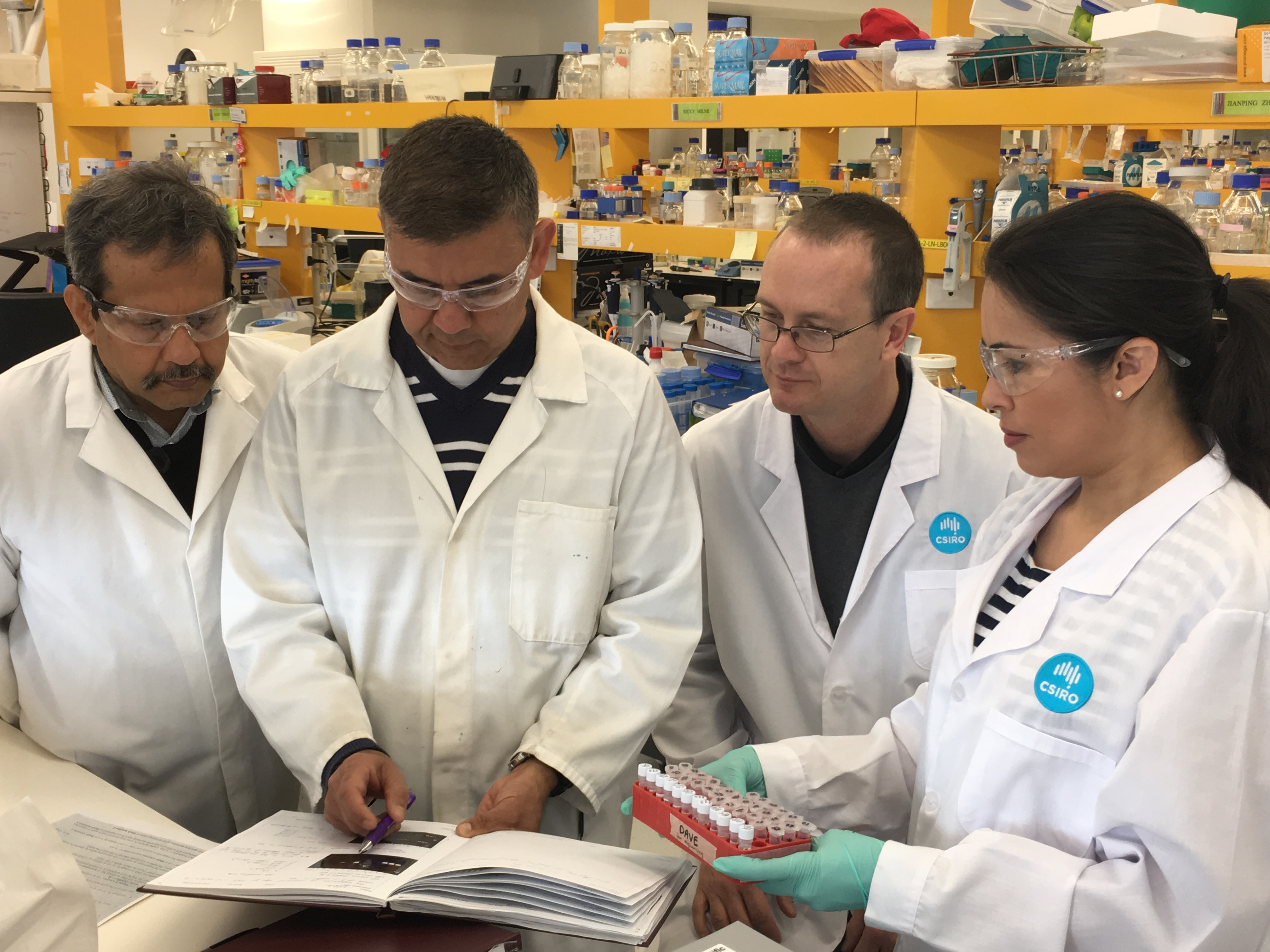 Four scientists study a sample against notes in a book