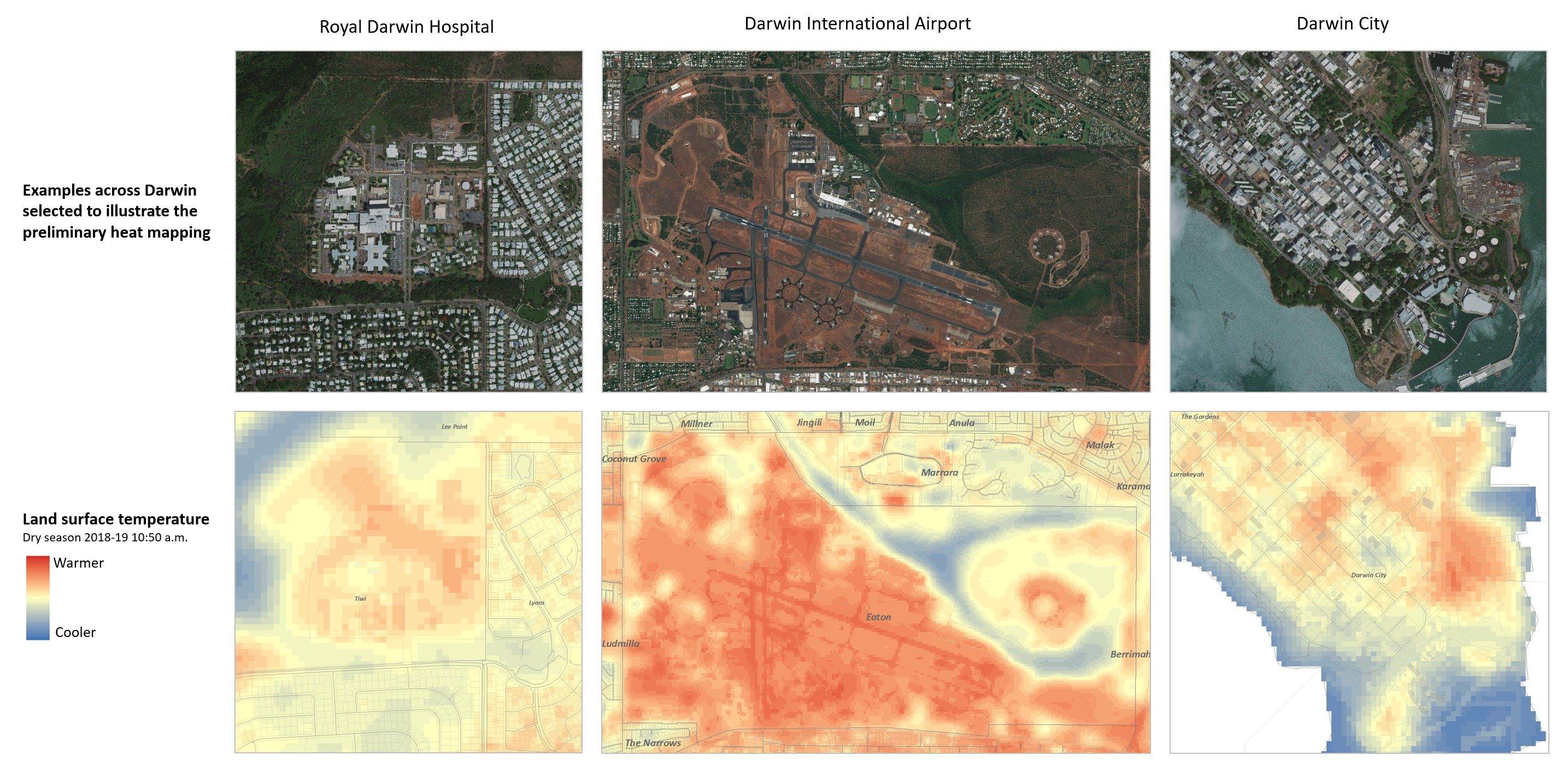 Satellite image comparison showing parts of Darwin in normal visible view, and the same areas ovelaid with heat mapping technology.