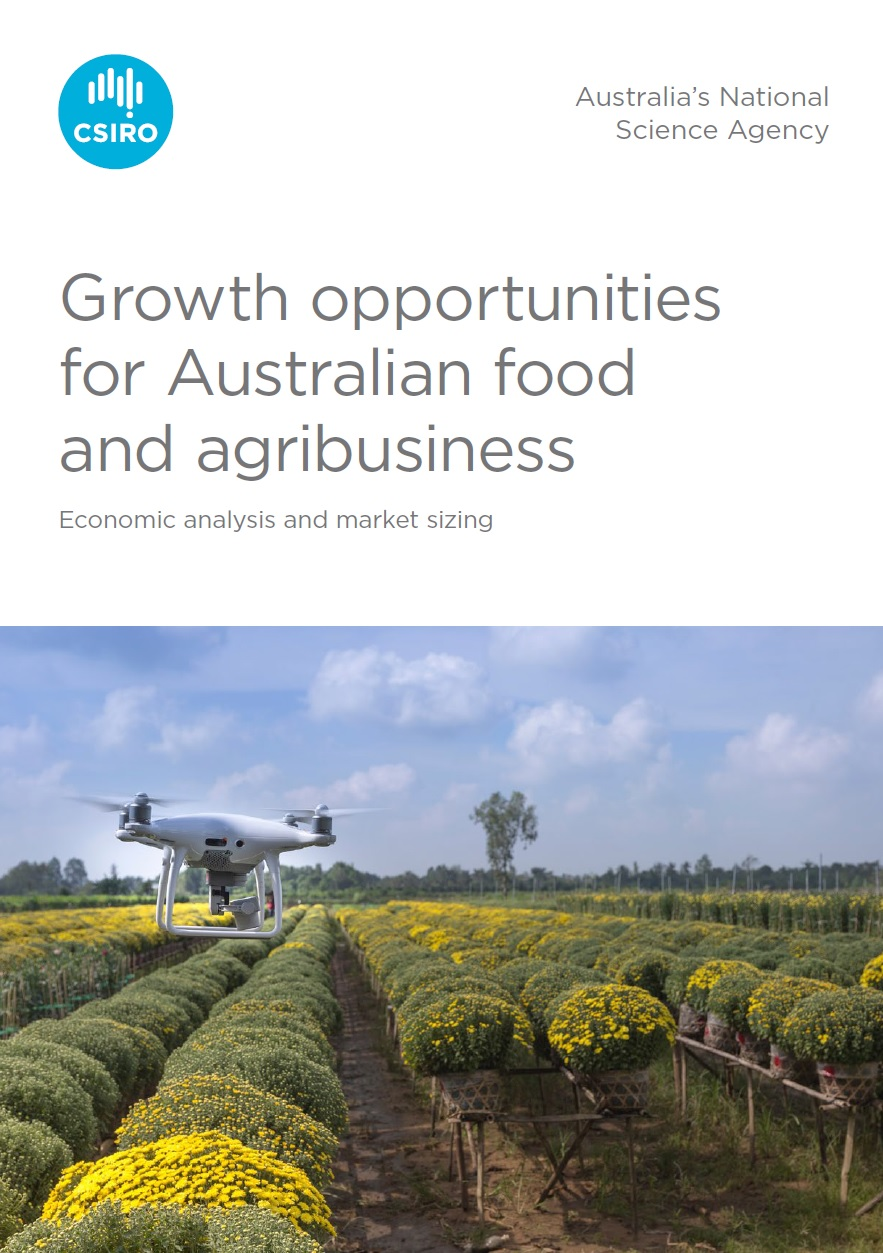 Cover of the Growth opportunities for Australian Food and Agribusiness report.
