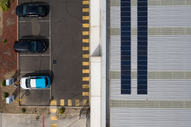 Solar panels at Nissan Australia Headquarters power the charging modules
