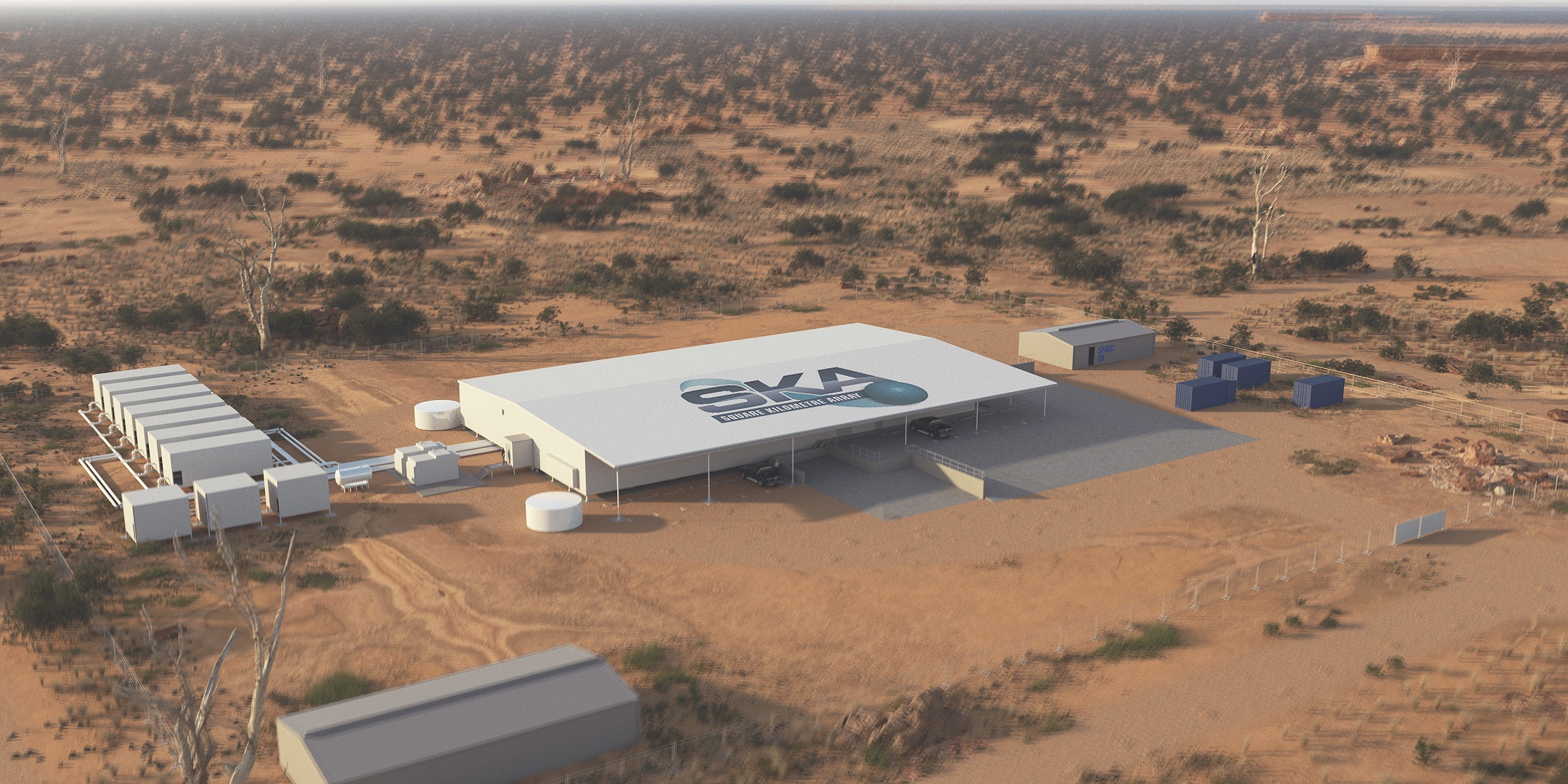 Artist's impression of the buildings of the supercomputing facility for the future Square Kilometre Array.