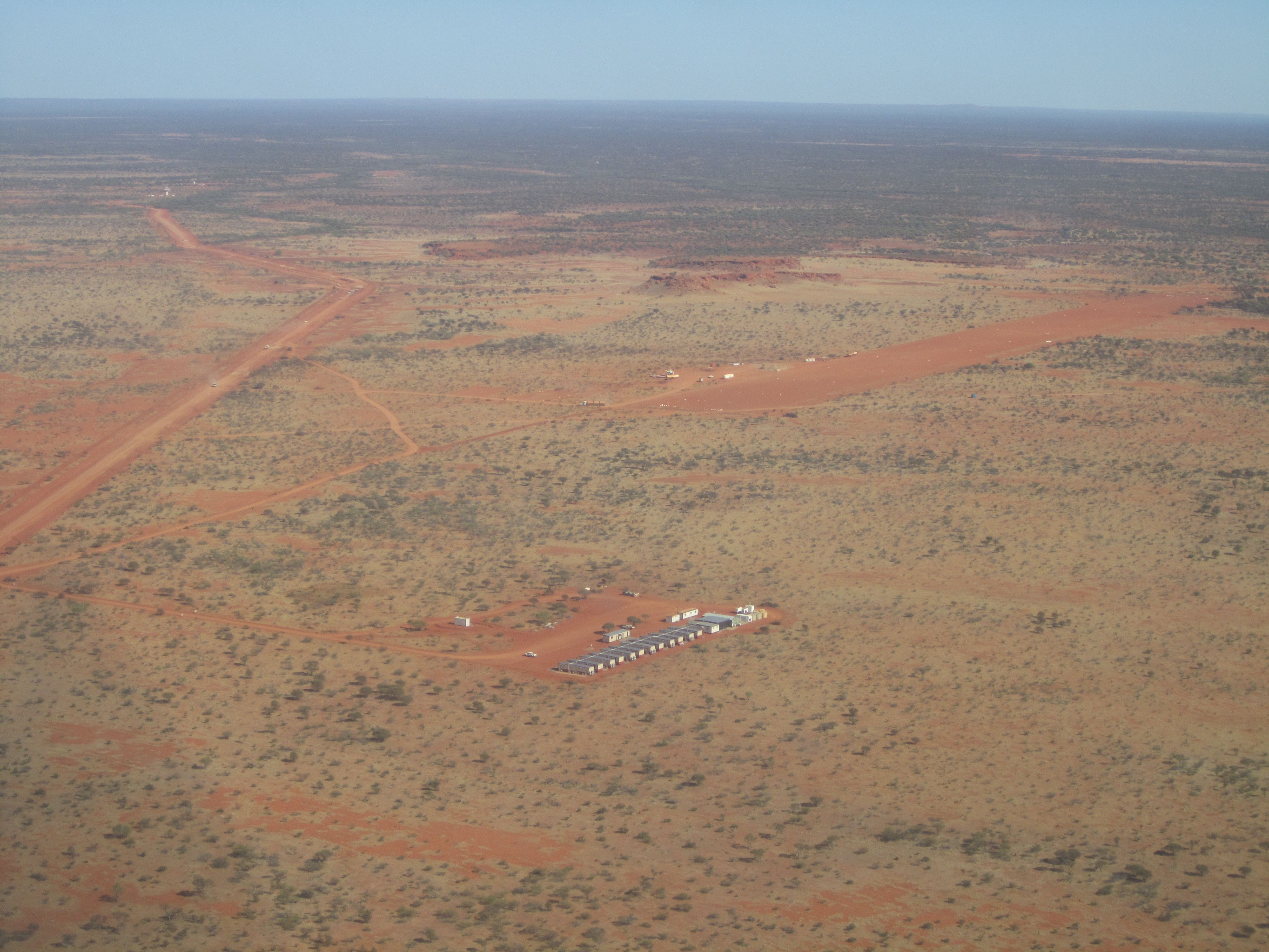 Aerial shot of the Square Kilometre Array (SKA) in Western Australia.