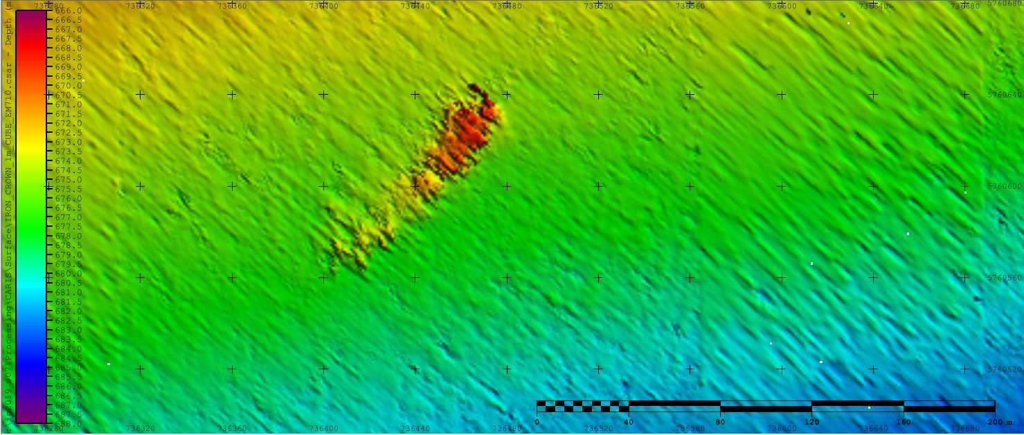 Bathymetric map showing Iron Crown on sea floor.