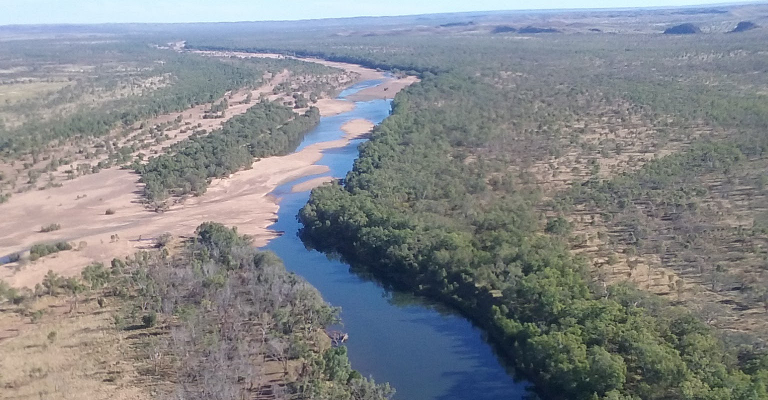 Aerial shot of a section of the Fitzroy catchment in Western Australia's Kimberley region showig a river snaking through a treed landscape.