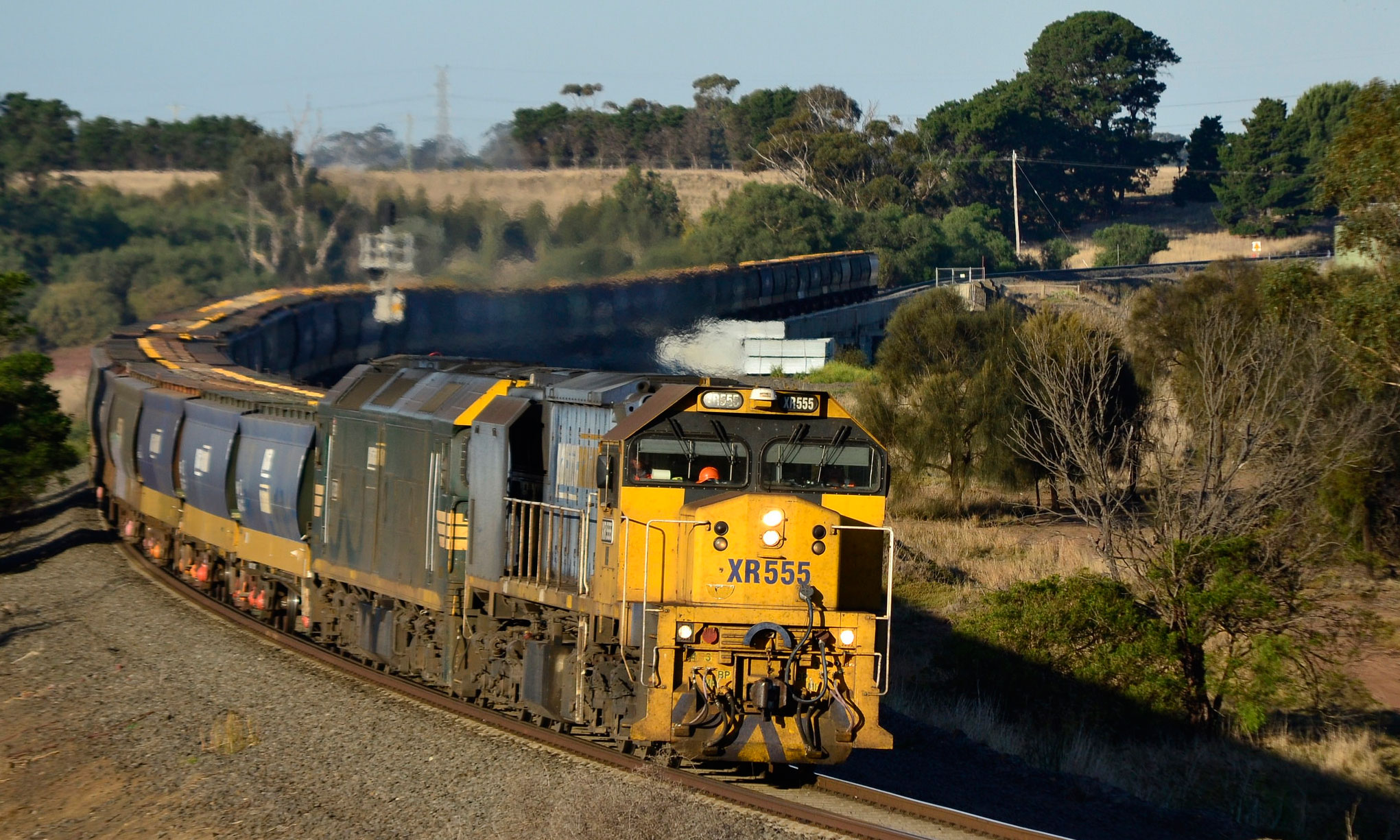 Grain train heading west from Geelong.