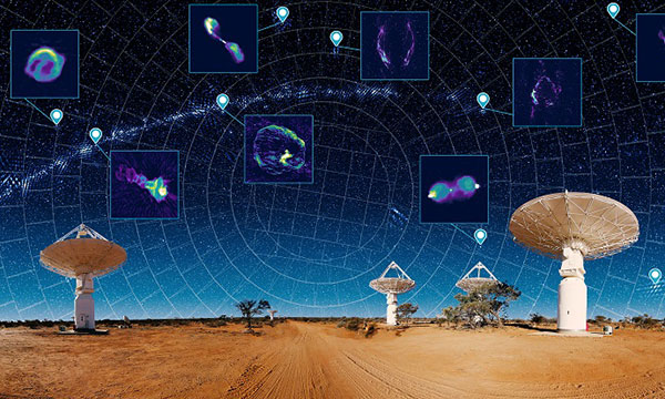 Graphic of the ASKAP and night sky above depicting a map of the universe with insets showing a variety of astonomical features next to a map pin similar to a geographical map..
