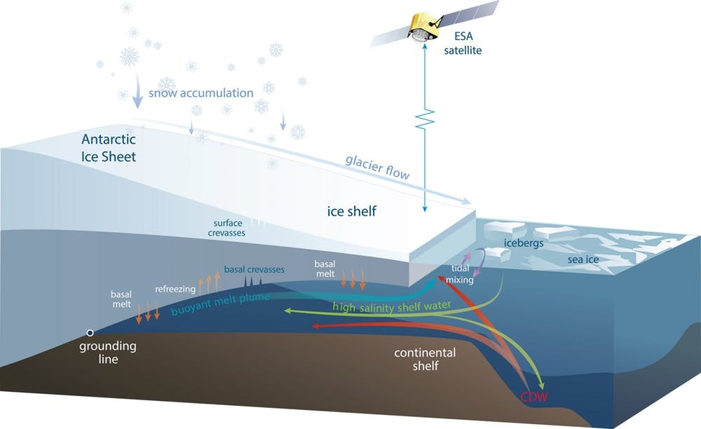 Drawing shows the process of  warm ocean currents surrounding the Antarctic coast, where floating ice walls offer protection to the ice sheet by limiting the amount of ocean heat that reaches the ice.