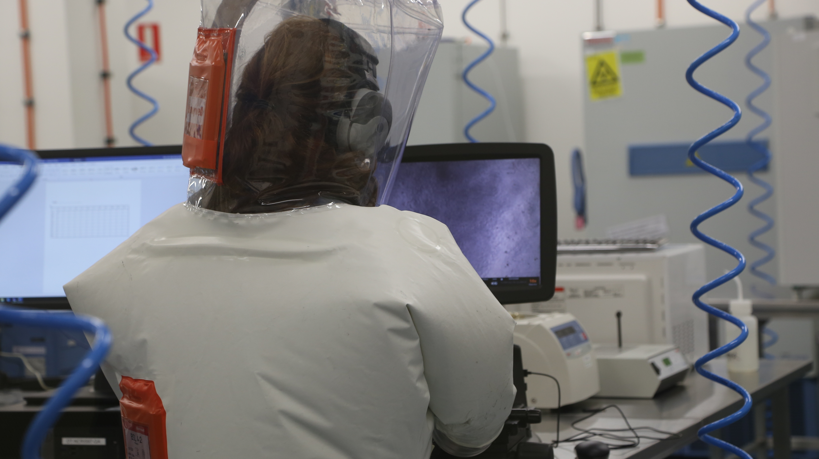 Scientist working in a laboratory at a computer screen wearing a protective suit.