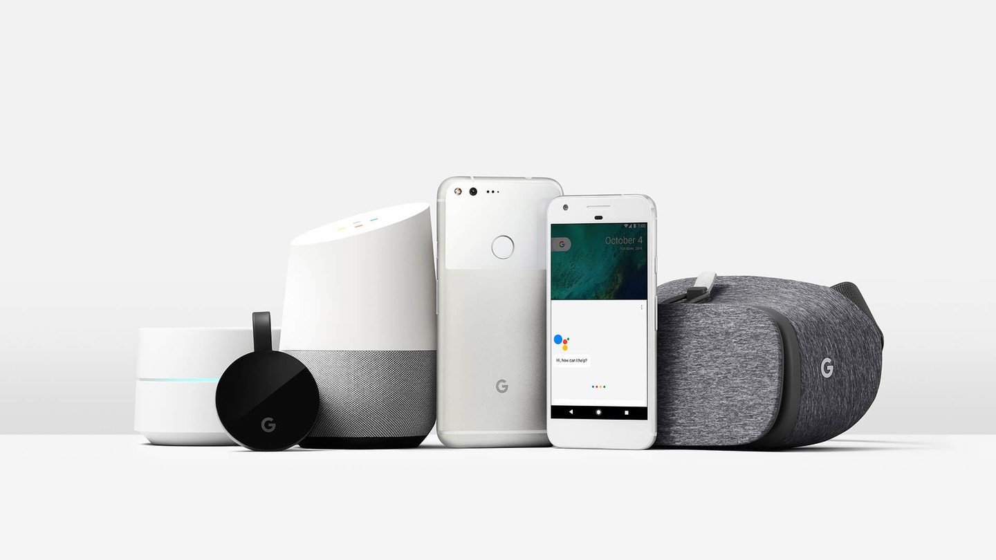 Group of six electonic voice devices, for example an Amazon Alexia device, iPhone, Google smart phone, Google Home device.