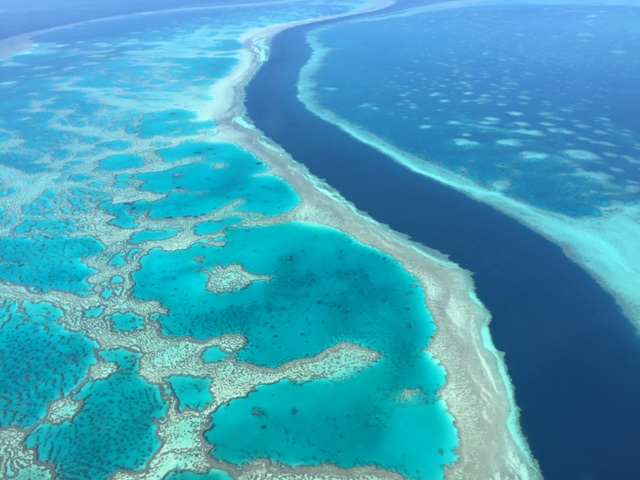Aerial view over a section of the Great Barrier Reef.
