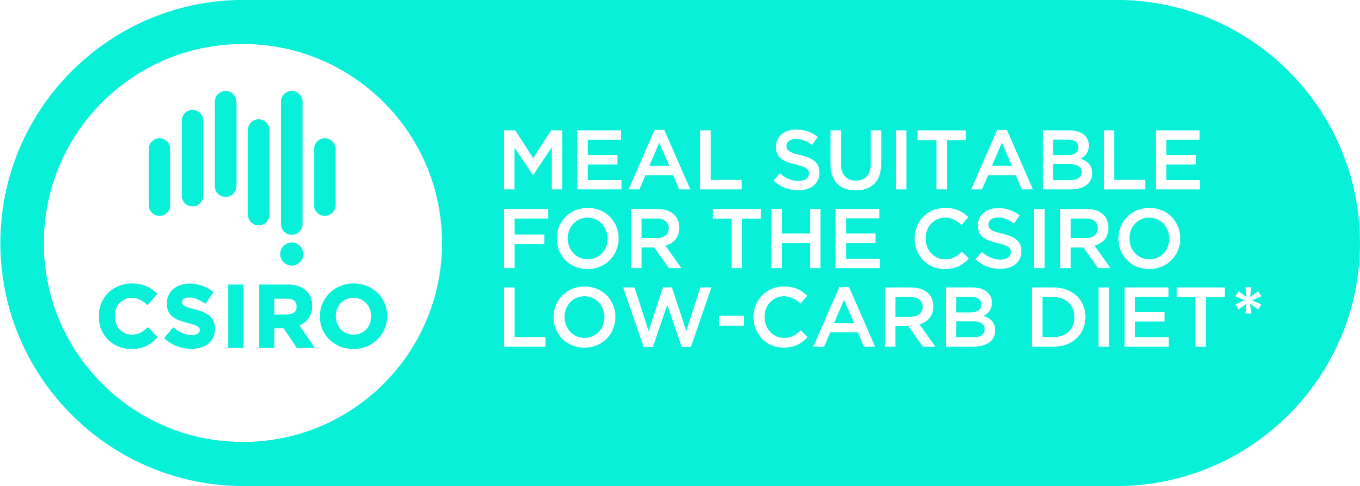 "CSIRO logo accompanied by the words ""meal suitable for the CSIRO Low Carb Diet""."