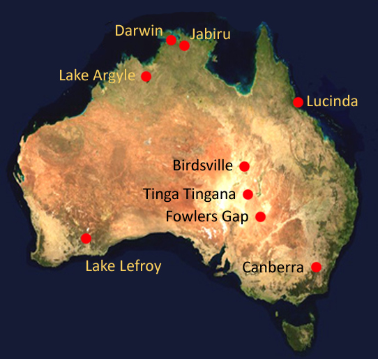 Map of Australia with locations of aerospan stations marked by red points