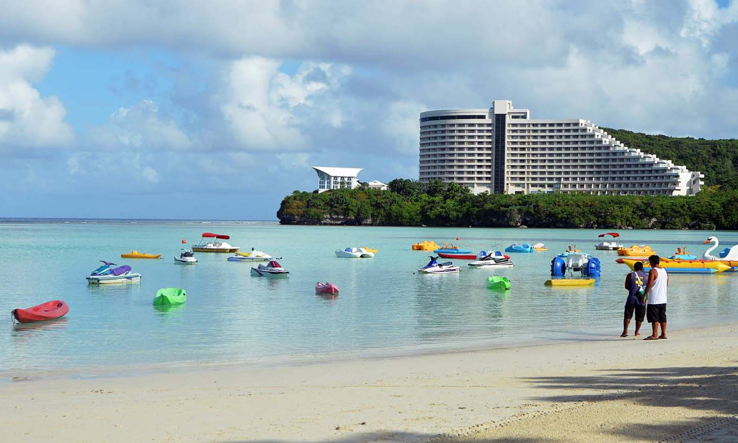 Beach and hotel on Guam