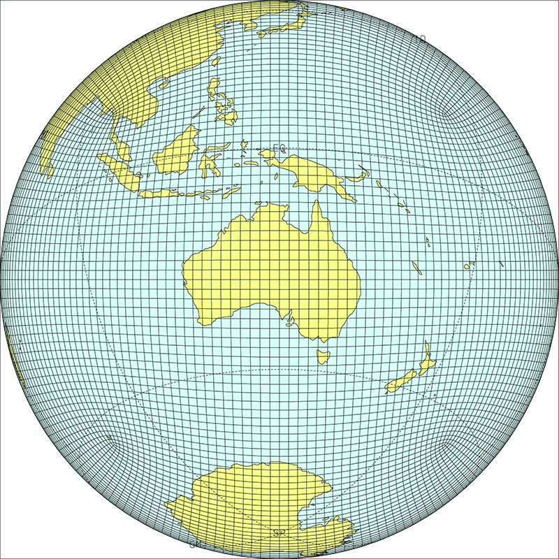 An image of the globe with a grid on it